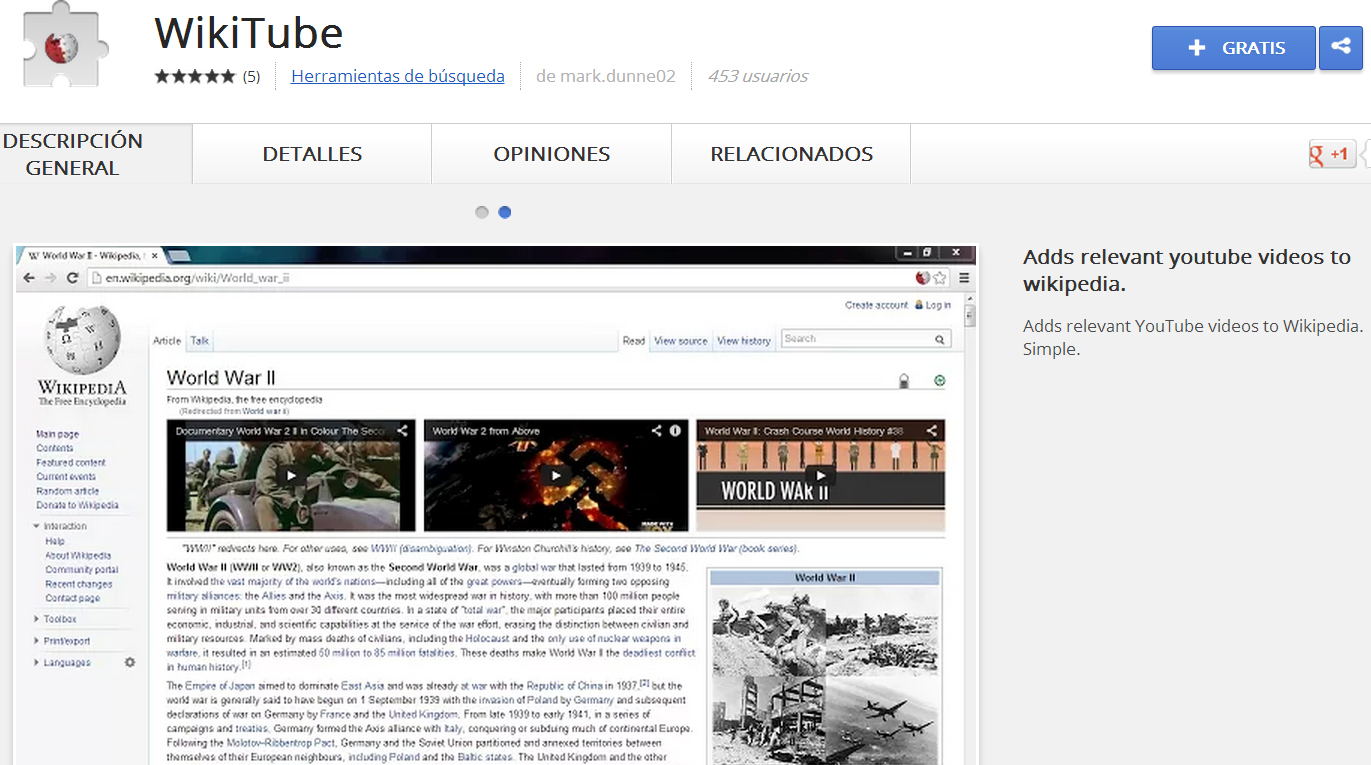 Une Wikipedia y Youtube con Wikitube.